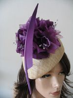 Ultra Violet Purple and Nude  Beret Fascinator Hatinator Ascot Kentucky Derby Headpiece. Purple Fascinator. Kentucky Derby Hats. Royal ascot Hats. Mother of the Bride Hats.